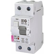 Диференційний автомат ETI KZS-2M 1P+N С 16A 10kA 10mA (тип A) 2173234