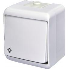 """Вимикач кнопковий """"світло"""" зовнішній одноклавішний ETI Hermetics VHE-5 10A Біла IP54 (4668004)"""