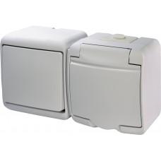 Вимикач + розетка IP54 з кришкою ETI VRHH-1s 16А 250V Білий 4668031 (мікс горизонтальний зовнішній)