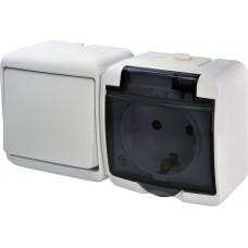 Вимикач + розетка IP54 з прозорою кришкою ETI VRHH-1sd 16А 250V Білий 4668032 (мікс горизонтальний зовнішній)