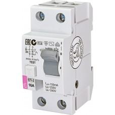 Диференційне реле (ПЗВ) ETI  EFI6-2 2P 16A 10kA 100mA (тип AC) 2063121