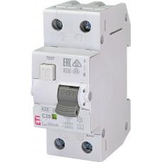 Диференційний автомат ETI KZS-2M 1P+N C 20A 10kA 30mA (тип A) 2173225