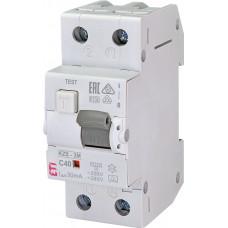 Диференційний автомат ETI KZS-2M 1P+N C 40A 10kA 30mA (тип A) 2173228