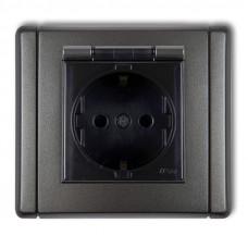 Розетка вологозахисна із заземленням SCHUKO Karlik Flexi графітовий 11FGPB-1sdp (з шторками, димчата кришка)