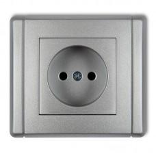 """Розетка без заземлення Karlik Flexi """"сріблястий металік"""" 7FGP-1p (із шторками)"""
