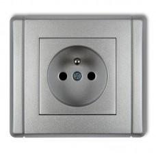"""Розетка з штирем заземлення Karlik Flexi """"сріблястий металік"""" 7FGP-1zp (із шторками)"""