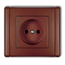 """Розетка без заземлення Karlik Flexi """"коричневий металік"""" 9FGP-1p (із шторками)"""