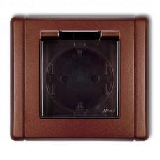 """Розетка вологозахисна із заземленням SCHUKO Karlik Flexi """"коричневий металік"""" 9FGPB-1sdp (з шторками, димчата кришка)"""