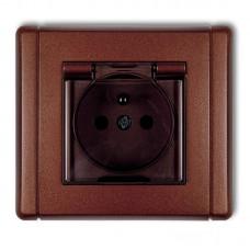 """Розетка вологозахисна із штирем заземлення Karlik Flexi """"коричневий металік"""" 9FGPB-1zdp (з шторками, димчата кришка)"""
