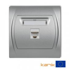 """Розетка ком'ютерна Karlik Logo RJ45, cat 5E """"сріблястий металлік"""" 7LGK-1"""