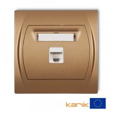"""Розетка ком'ютерна Karlik Logo RJ45, cat 5E """"золотистий металлік"""" 8LGK-1"""