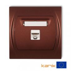 """Розетка ком'ютерна Karlik Logo RJ45, cat 5E """"коричневий металлік"""" 9LGK-1"""
