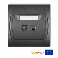 Розетка телефонна одинарна Karlik Logo 1XRJ11, 4-контактна графітова 11LGT-1