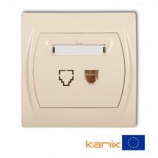 Розетка телефонна одинарна Karlik Logo 1XRJ11, 4-контактна бежева 1LGT-1