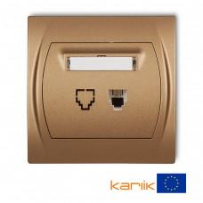 """Розетка телефонна одинарна Karlik Logo 1XRJ11, 4-контактна """"золотистий металлік"""" 8LGT-1"""