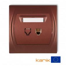 """Розетка телефонна одинарна Karlik Logo 1XRJ11, 4-контактна """"коричневий металлік"""" 9LGT-1"""