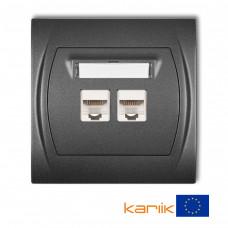 Розетка подвійна ком'ютерна Karlik Logo RJ45, cat 5E графітовая 11LGK-2