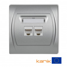 """Розетка подвійна ком'ютерна Karlik Logo RJ45, cat 5E """"сріблястий металлік"""" 7LGK-2"""