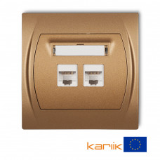 """Розетка подвійна ком'ютерна Karlik Logo RJ45, cat 5E """"золотистий металлік"""" 8LGK-2"""