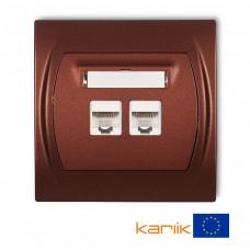 """Розетка подвійна ком'ютерна Karlik Logo RJ45, cat 5E """"коричневий металлік"""" 9LGK-2"""