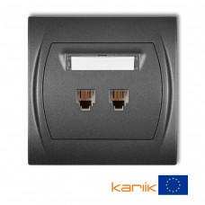 Розетка телефонна подвійна Karlik Logo 2XRJ11, 4-контактна графітова 11LGT-2