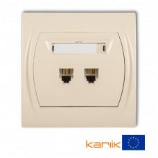 Розетка телефонна подвійна Karlik Logo 2XRJ11, 4-контактна бежева 1LGT-2