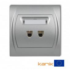 """Розетка телефонна подвійна Karlik Logo 2XRJ11, 4-контактна """"сріблястий металлік"""" 7LGT-2"""
