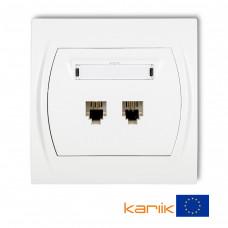 Розетка телефонна подвійна Karlik Logo 2XRJ11, 4-контактна біла LGT-2