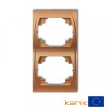 """Рамка подвійна вертикальна Karlik Logo """"золотистий металлік"""" 8LRV-2"""