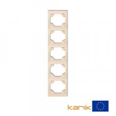 Рамка п'ятірна вертикальна Karlik Logo бежева 1LRV-5