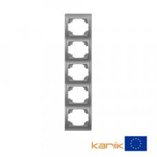 """Рамка п'ятірна вертикальна Karlik Logo """"сріблястий металлік"""" 7LRV-5"""