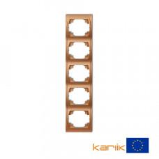 """Рамка п'ятірна вертикальна Karlik Logo """"золотистий металлік"""" 8LRV-5"""