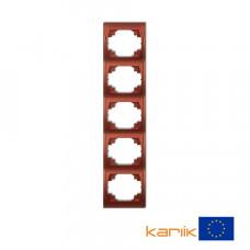 """Рамка п'ятірна вертикальна Karlik Logo """"коричневий металлік"""" 9LRV-5"""