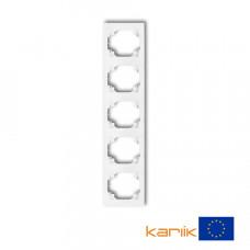 Рамка п'ятірна вертикальна Karlik Logo біла LRV-5