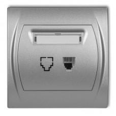 """Розетка телефонна одинарна Karlik Logo 1XRJ11, 4-контактна """"сріблястий металлік"""" 7LGT-1"""