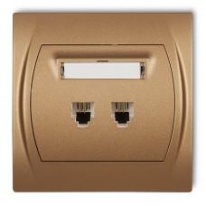 """Розетка телефонна подвійна Karlik Logo 2XRJ11, 4-контактна """"золотистий металлік"""" 8LGT-2"""