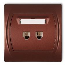 """Розетка телефонна подвійна Karlik Logo 2XRJ11, 4-контактна """"коричневий металлік"""" 9LGT-2"""