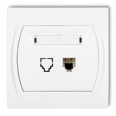 Розетка телефонна одинарна Karlik Logo 1XRJ11, 4-контактна біла LGT-1