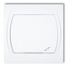 1-клавішний вимикач прохідний Karlik Logo білий LWP-3