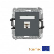 Розетка ком'ютерна Karlik Mini RJ45, cat 5E графітова матова 28MGK-1