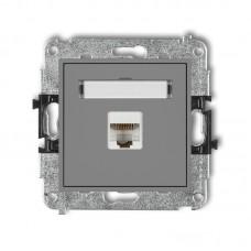 Розетка ком'ютерна екранована Karlik Mini RJ45, cat 5E сіра матова 27MGK-1e
