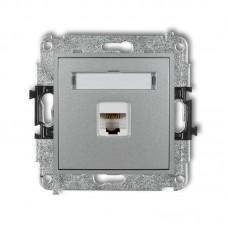 """Розетка ком'ютерна екранована Karlik Mini RJ45, cat 5E """"сріблястий металлік"""" 7MGK-1e"""