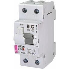Диференційний автомат ETI KZS-2M 1P+N C 20A 10kA 30mA (тип AC) 2173125