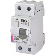 Диференційний автомат ETI KZS-2M 1P+N C 40A 10kA 30mA (тип AC) 2173128