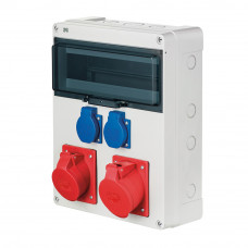 Щит з розетками 32A 5P, 16A 5P, 2xSchuko IP44 Elektro-Plast 6210-00 12 модулів