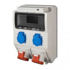 Щит з розетками 2x16A 5P, 2xSchuko IP44 Elektro-Plast 6221-00 9 модулів