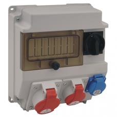 Щит з розетками 32A 5P, 16A 5P, Schuko IP44 Spamel ROS7/x-02 7 модулів