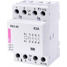 Контактор модульний ETI R-63-40 63А 230V AC 1NO + 1NC (2463450)